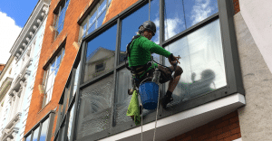 Window Cleaning at Height using Ropes