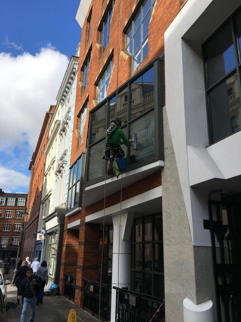 Skilled rope access window cleaning